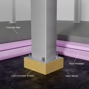LAST-A-FOAM® R-9300 polyurethane thermal bridging block used in a column bearing block application.